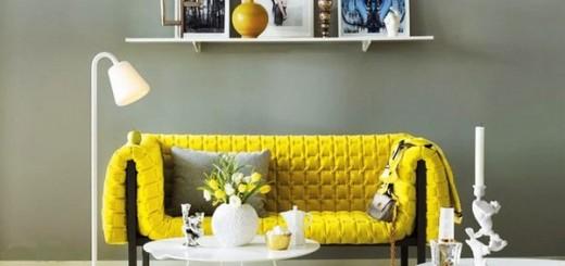 Sơn nhà sửa phòng khách với gam màu vàng xám