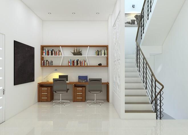 Thiết kế nhà ống, Phòng học hoặc làm việc rộng rãi, thoáng đãng nhờ lấy ánh sáng từ cầu thang vì giữa 2 khu vực chỉ có vách ngăn họa tiết