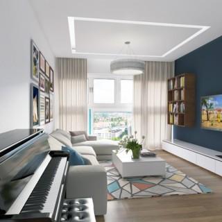 Căn hộ lấy tông trắng làm chủ đạo sau cải tạo căn hộ, với các mảng nhấn màu xanh như gối dựa, tường hay phần họa tiết của thảm