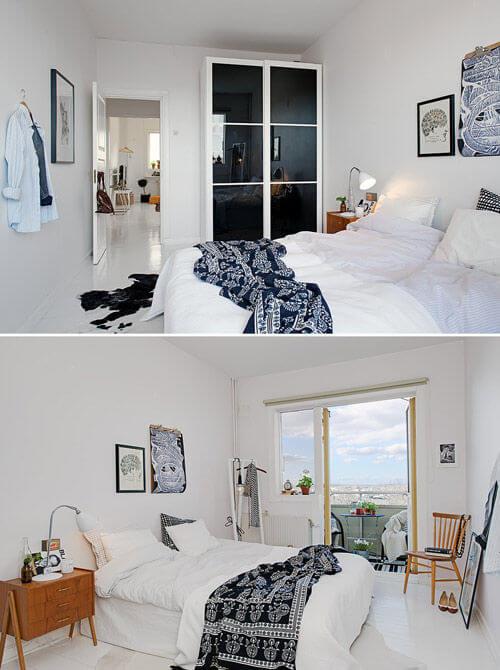 Phòng ngủ tương đối rộng rãi, sau cải tạo căn hộ, đủ kê một chiếc giường ngủ lớn giữa phòng. Đồ nội thất và phụ kiện trang trí đều xuất hiện rất ít để giữ sự yên tĩnh cho chốn nghỉ ngơi.