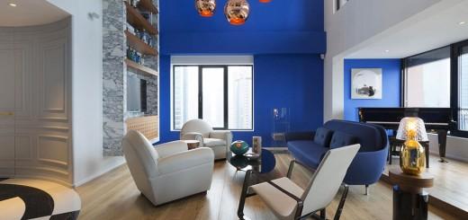 Mẫu nhà đẹp 2 tầng màu xanh nước biển ấn tượng