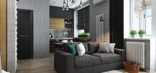 Toàn cảnh mẫu thiết kế căn hộ với không gian phòng khách - bếp nấu - bàn ăn.