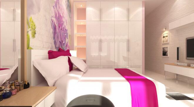 Sơn nhà lấy tông trắng cho phòng ngủ trở nên mới mẻ với màu hồng sen. Không gian sự ấm cúng và ngọt ngào với tranh đầu giường có sắc hồng tím.
