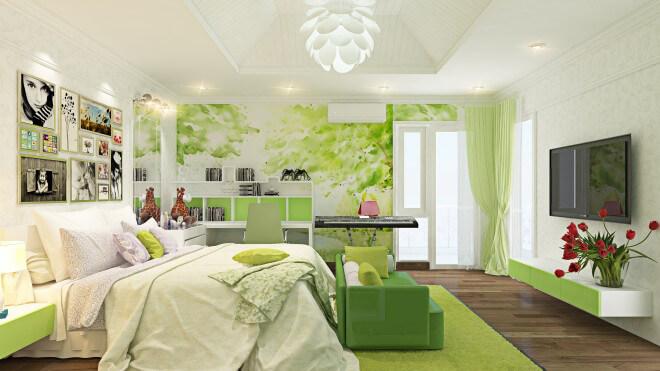 Sơn nhà, phòng ngủ dùng màu xanh lá với nhiều sắc độ khác nhau ở rèm cửa, sofa, tranh dán tường... mang lại cảm giác mát mẻ, dịu nhẹ.