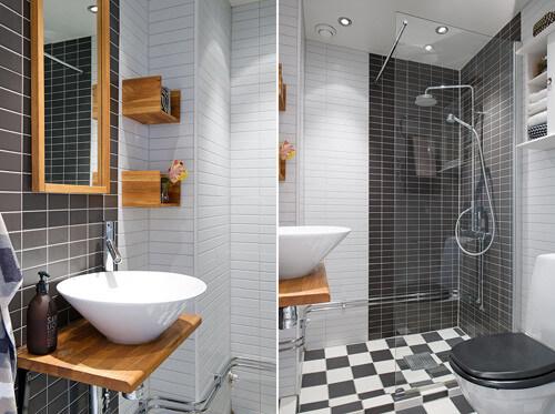 Phòng tắm hiện đại, hút mắt bởi cách phối màu và họa tiết sắc sảo. Bộ đôi đen - trắng sang trọng, sau cải tạo căn hộ