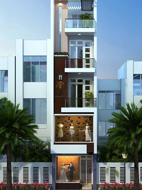 Sơn mặt tiền nhà phố với tông trắng chủ đạo cho ngoại thất kết hợp hệ thống cửa nhựa lõi thép màu trắng, hài hòa, tạo cảm giác rộng rãi hơn.