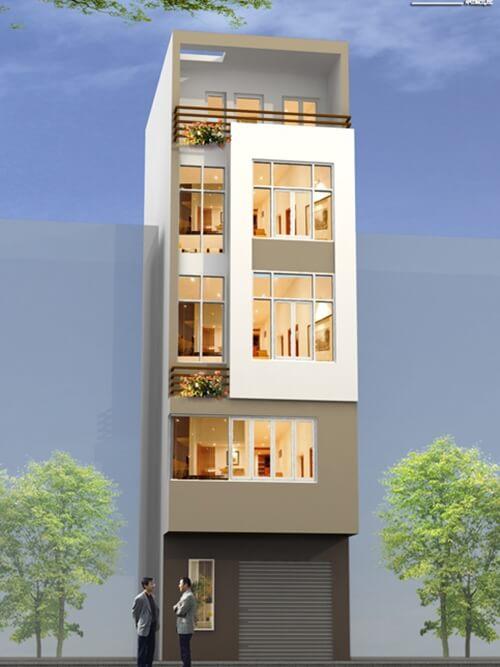 Sơn mặt tiền nhà phố nhỏ hẹp bằng gam màu trắng hoặc màu kem cho mặt tiền, tạo cảm giác rộng rãi hơn.