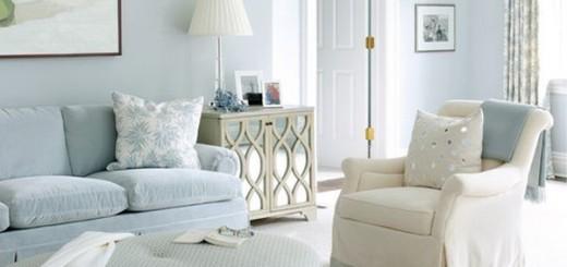 Sơn nhà đẹp, phòng khách với tông màu xanh dương, ấm cúng và đầy thân thiện.