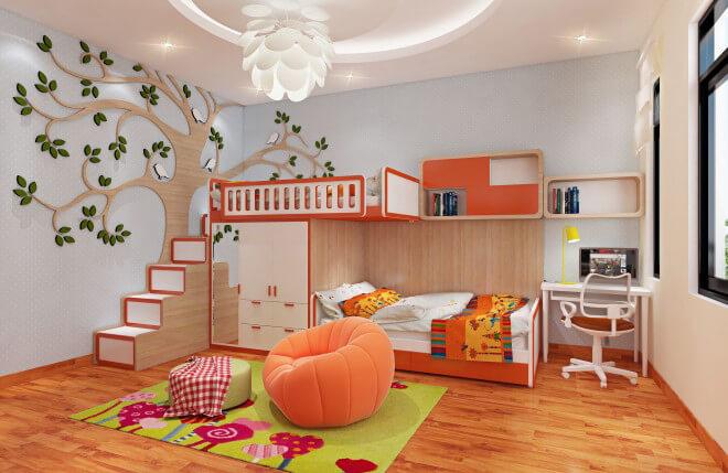 Sơn nhà đẹp với gam màu cam nóng làm tăng sự vui nhộn, sinh động, kích thích khả năng sáng tạo và tư duy của bé.