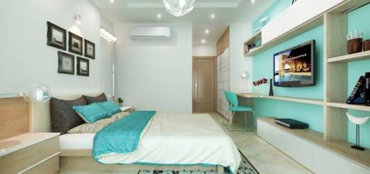 Thay đổi màu sơn nhà đẹp ở một mảng tường nhấn, bộ ga gối và ghế ngồi giúp phòng ngủ hiện đại hơn.