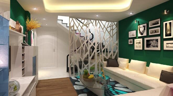 Phòng khách với tông màu xanh, tràn ngập không khí giáng sinh trong ngôi nhà.