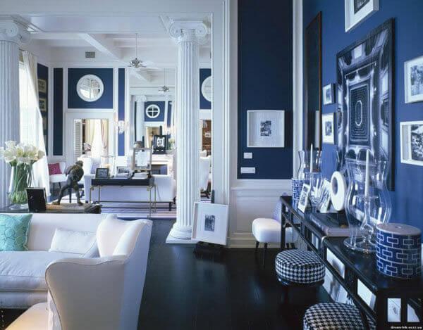 Sơn nhà đẹp với màu xanh dương đậm thể hiện sự trầm tĩnh, vững vàng.