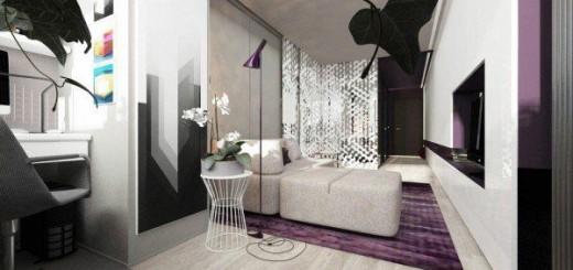 Thiết kế căn hộ 25m2 độc đáo với sắc tím