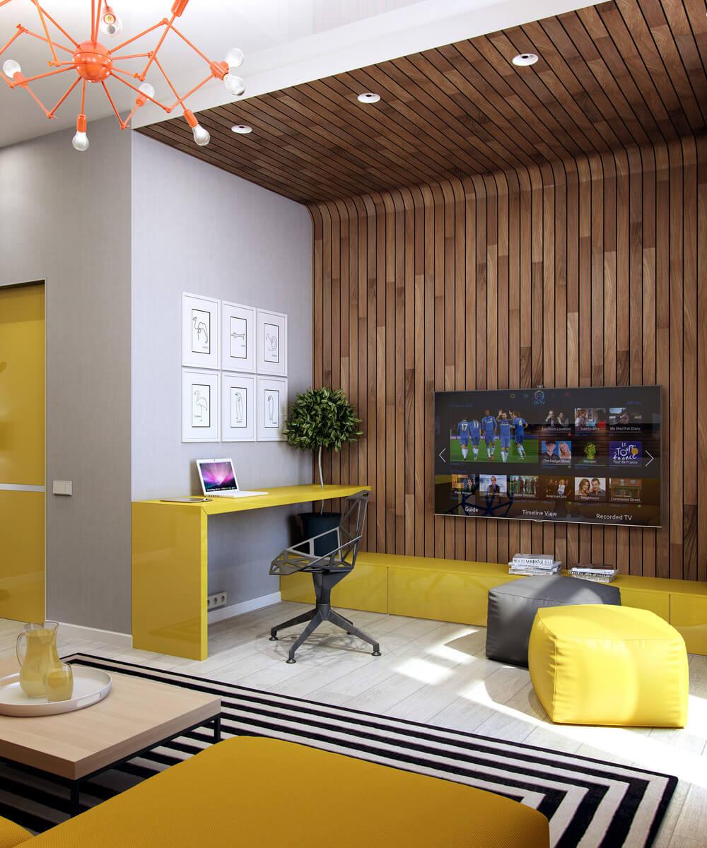 Căn hộ thiết kế mảng tường ốp gỗ kết hợp sắc màu xám - vàng nổi bật cho căn phòng.