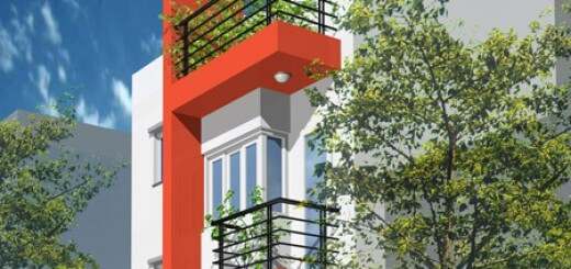 Thiết kế nhà 3 tầng đẹp may mắn với sắc đỏ