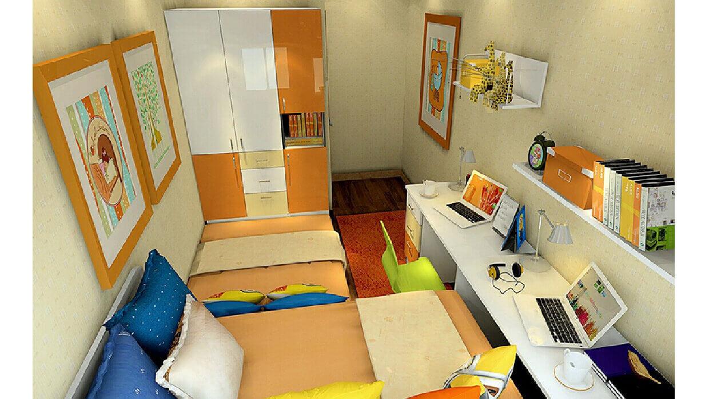 Mẫu phòng ngủ diện tích nhỏ bố trí đầy đủ công năng sử dụng cho con