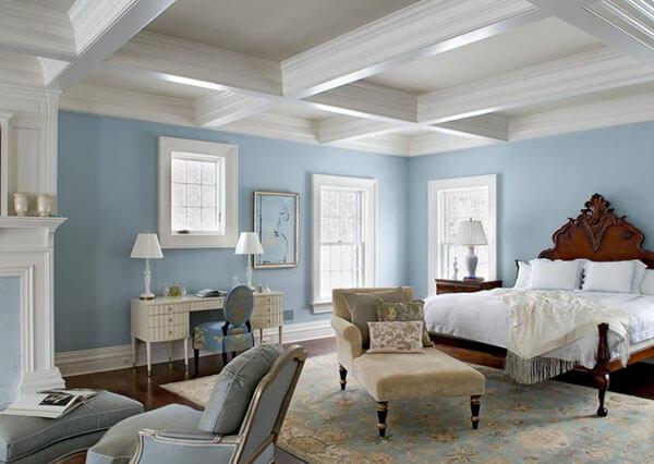 Màu sơn nhà đẹp với gam màu xanh dương là màu của nước, tượng trưng cho sự tràn trề, no đủ.