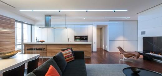 Mẫu thiết kế căn hộ trên diện tích 158m2, rộng rãi, không gian liên thông trong căn hộ.