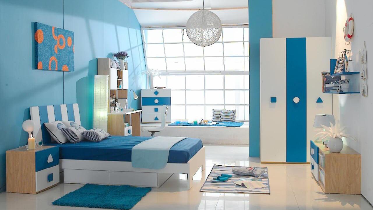 Sửa chữa phòng ngủ cho con tông xanh chủ đạo
