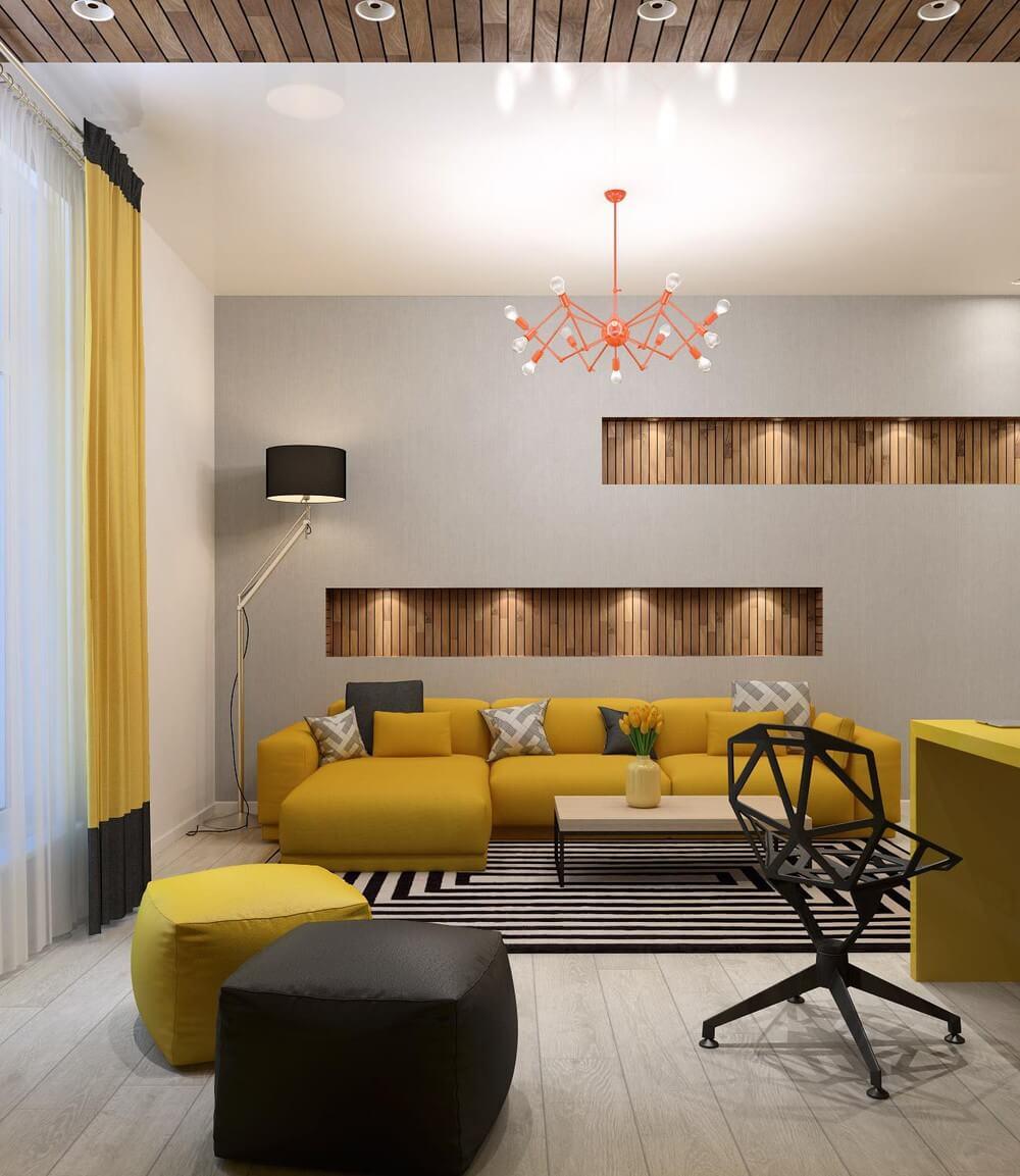 Căn hộ thiết kế những hốc tường ốp gỗ tạo điểm nhấn đầy ấn tượng với tường gam màu xám.
