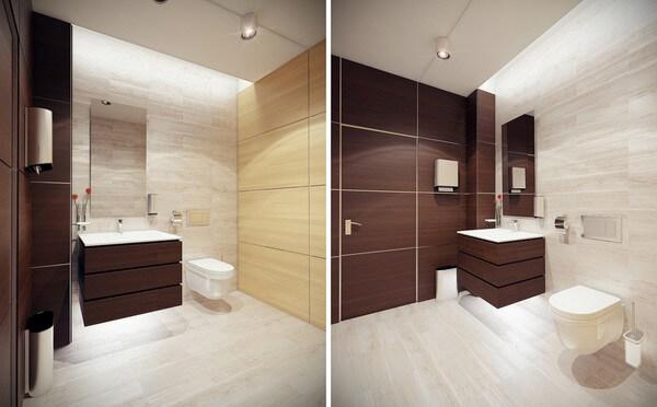 Cải tạo căn hộ với phòng tắm, tone màu trắng - nâu điểm nhấn nổi bật, cùng với những đồ nội thất tinh tế, sang trọng.