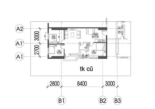 Mặt bằng hiện trạng trước khi cải tạo căn hộ.