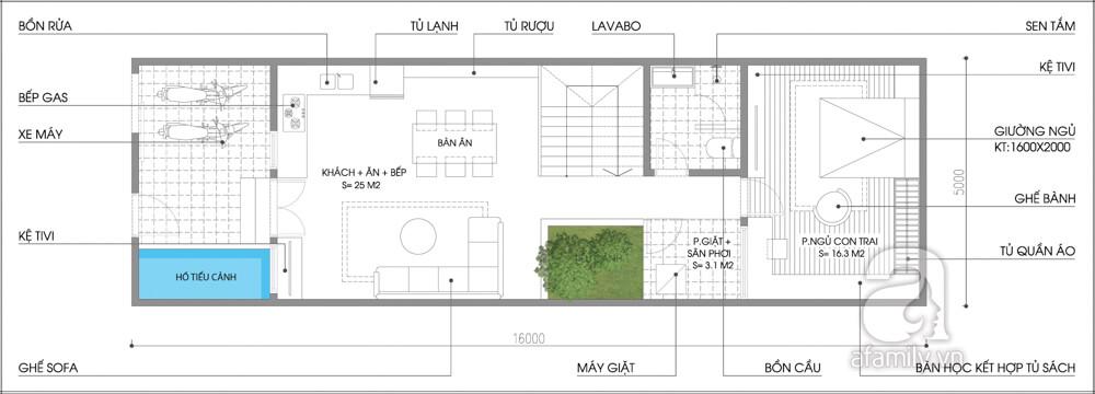 Mặt bằng 1 của mẫu thiết kế nhà hai tầng