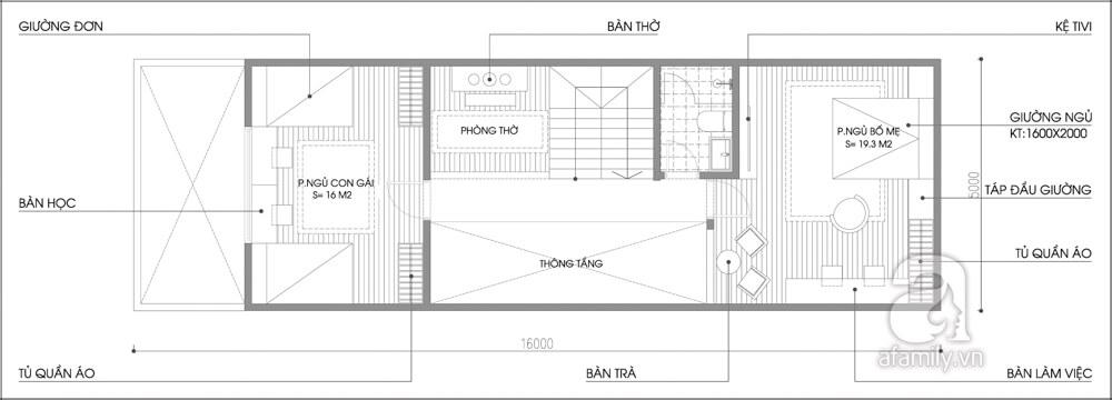 Mặt bằng tầng 2 của mẫu thiết kế nhà hai tầng