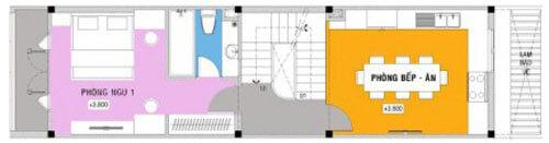 Mặt bằng thiết kế nhà 4 tầng, tầng 2.