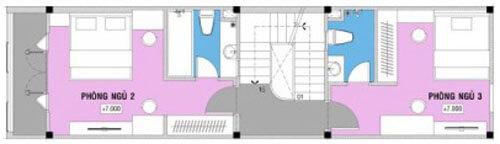 Mặt bằng thiết kế nhà 4 tầng, tầng 3.