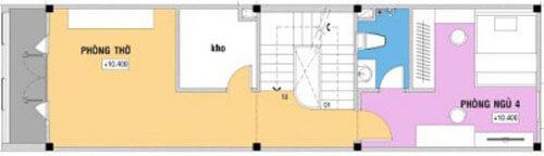 Mặt bằng thiết kế nhà 4 tầng. Tầng 1 - 4