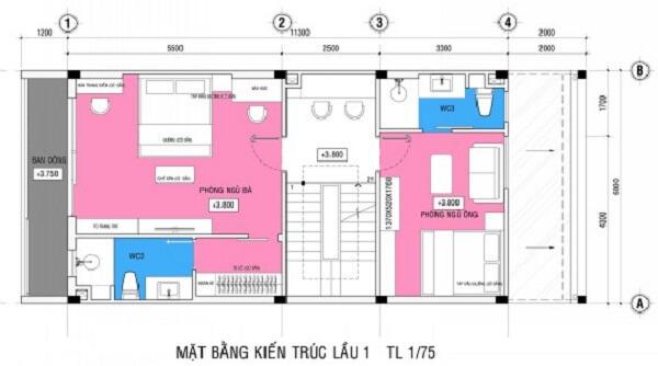 Mặt bằng thiết kế nhà sơn màu trắng chủ đạo tầng 2
