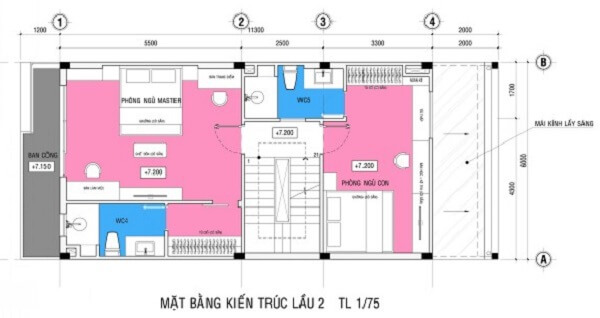 Mặt bằng thiết kế nhà sơn màu trắng chủ đạo tầng 3