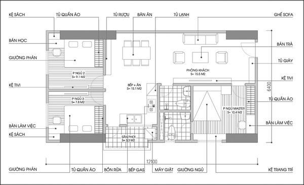 Mặt bằng tư vấn thiết kế cải tạo căn hộ.