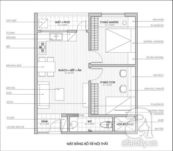 Mặt bằng tư vấn sửa chữa cải tạo căn hộ thêm phòng ngủ