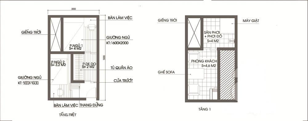 Mặt bằng tư vấn thiết kế nhà ống 2 tầng.