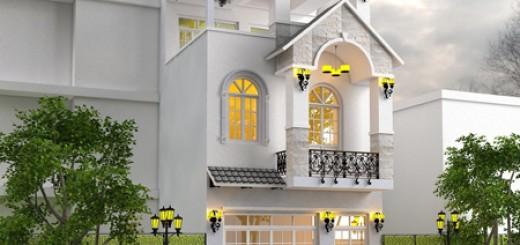 Mặt tiền nhà phố ba tầng, đẹp sang trọng với gam màu sáng.