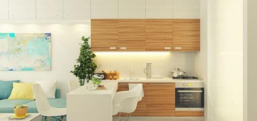 Mẫu cải tạo căn hộ với không gian bếp và nơi tiếp khách, ngăn cách bởi chiếc bàn ăn, giúp người nội trợ có thêm nơi chuẩn bị đồ ăn tiện dụng.