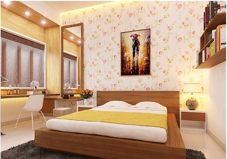 Phòng ngủ trong mẫu nhà đẹp này, tông vàng ấm áp, những món nội thất nhỏ xinh bộc lộ cá tính, sở thích của chủ nhà