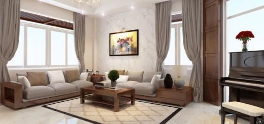 Phòng khách rộng rãi với gam màu trung tính, chất liệu chính là đá và gỗ làm nền, giúp tạo nên phong cách trang nhã hiện đại, sang trọng, trong mẫu thiết kế biệt thự này.
