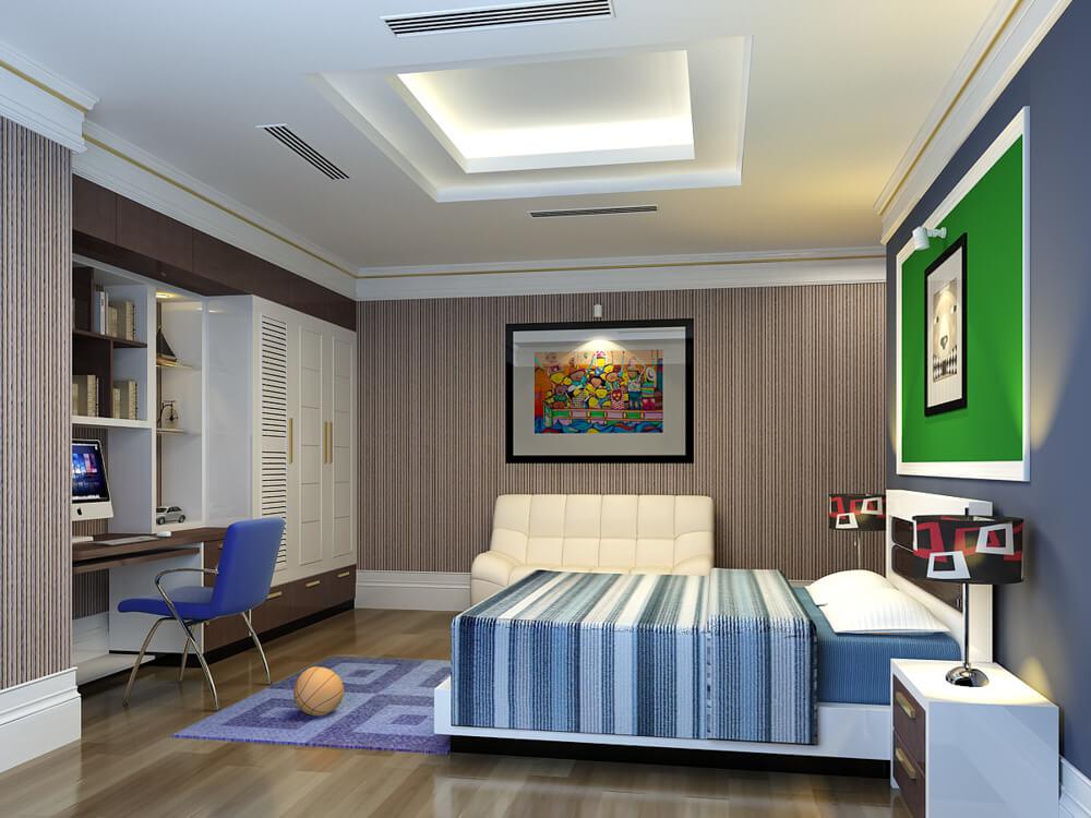 Mẫu thiết kế nhà hai tầng với phòng ngủ bé trai với kiểu nội thất thể hiện sự năng động, cá tính.