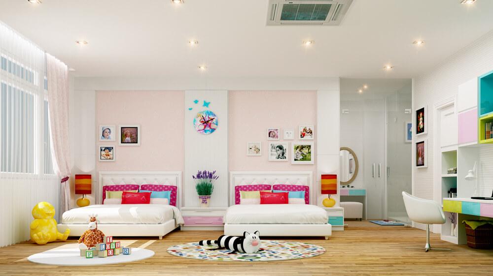 Phòng ngủ dành cho bé gái với những món đồ nội thất ngộ nghĩnh, đáng yêu trong mẫu thiết kế nhà hai tầng.