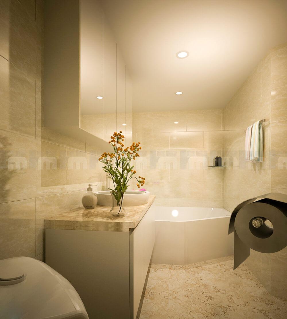 Phòng tắm trong mẫu thiết kế nhà hai tầng này, với tông màu trung tính, tiện nghi hiện đại.