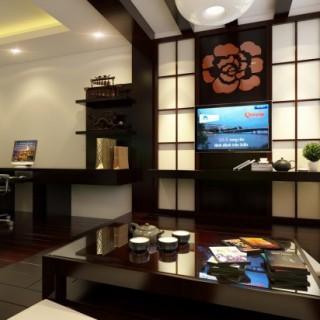 Phòng khách đặt bàn tiếp khách theo đúng phong cách Nhật thuần túy, kệ tivi kết hợp vách trang trí kiểu Nhật mang lại vẻ trang nhã, sang trọng trong mẫu thiết kế nhà này.