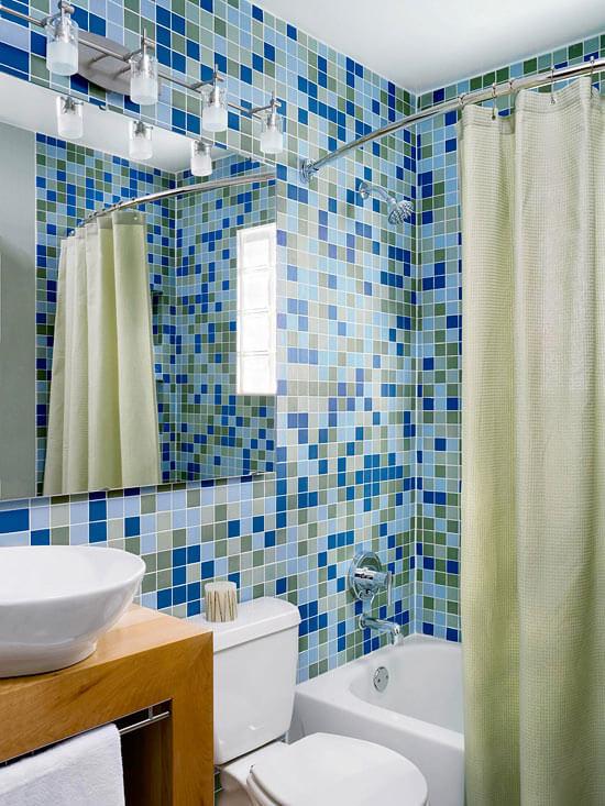 Trong mẫu phòng tắm thiết kế ấn tượng và đẹp với gạch ốp tường lạ mắt.