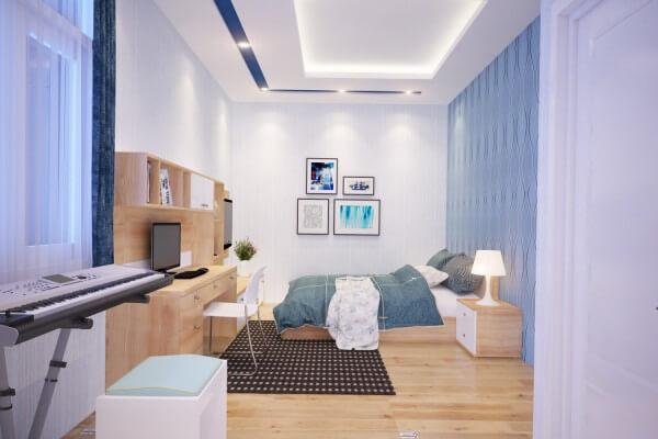 Các phòng ngủ với sơn màu trắng đỏ và tranh dán tường hoa màu đỏ sinh động, trẻ trung. Căn phòng ấm cúng với hệ thống tủ kệ trang trí tinh tế, ánh sáng được thiết kế nhà 3 tầng vừa đủ.