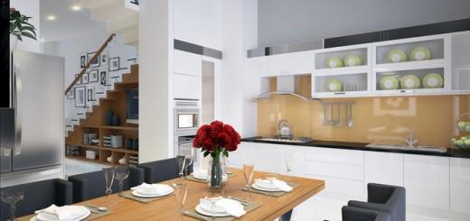 Sơn nhà bếp với màu nâu gỗ-xám-trắng kết hợp hệ tủ bếp đa năng tiện nghi, thoáng rộng, thoải mái.