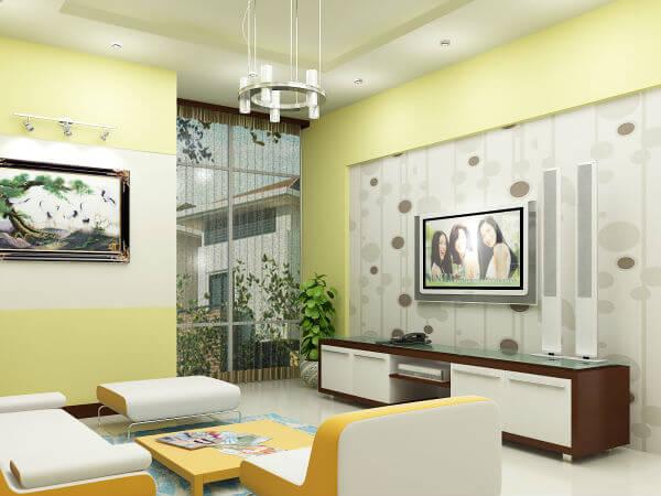 Sơn nhà với phòng khách màu be vàng, mát mẻ vào mùa hè, ấm áp vào mùa đông.