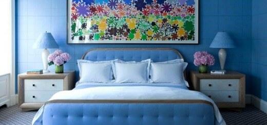 Sơn phòng ngủ này trở nên thật bắt mắt với màu xanh nước biển.