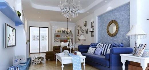 Không gian phòng khách thoáng sáng, hiện đại với gam màu trắng - xanh biển tạo điểm nhấn nổi bật cho căn phòng.